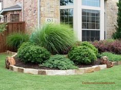 Low maintenance front yard landscaping landscape for Maiden grass landscaping ideas
