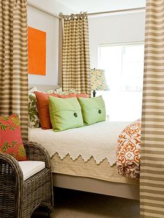 I love the bed curtains... they would make sleepy time seem so cozy! :)