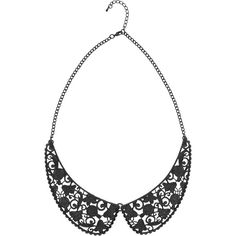 Black Filigree Collar Necklace Hot Topic ($15) ❤ liked on Polyvore featuring jewelry, necklaces, metal collar necklace, long necklace, metal necklace, filigree jewelry and collar necklace