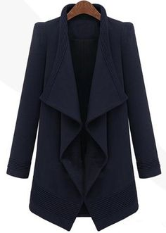 Navy Long Sleeve Drawstring Waist Asymmetrical Coat