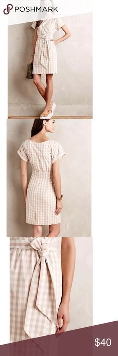 Anthropologie Ribboned Poplin Dress Gingham print dress by HD Paris from Anthropologie. A few fraying pieces around the waist. Reflected in price. Other than that, great condition. Anthropologie Dresses