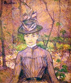 Oil on canvas;  55 × 46 cm.  Henri Marie Raymond de Toulouse-Lautrec-Monfa or simply Henri de Toulouse-Lautrec was a French painter, printmaker, draughtsman, and illustrator, whose immersion in the colorful and theatrical life of fin de siècle Paris yielded an œuvre of exciting, elegant and provocative images of the modern and sometimes decadent life of those times. Toulouse-Lautrec is known along with Cézanne, Van Gogh, and Gauguin as one of the greatest painters of the Post-Impressionist…