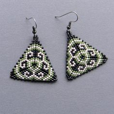 Colorful Seed bead earrings  Triangle Peyote by Anabel27shop,