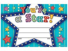 Marquee You're a Star Awards - Printed on sturdy paper, these awards will become keepsakes for the youngsters who receive them. General titles allow for personalized messages that are sure to build self-esteem. x 25 per pack. Certificate Of Achievement Template, Printable Certificates, Award Certificates, Certificate Templates, Preschool Certificates, Kids Awards, Student Awards, Teacher Magazine, Teacher Stickers