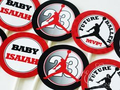 Air Jordan / Jumpman / Chicago Bulls / Michael Jordan - Cupcake Toppers (for a Baby Shower or Birthday Party) / Air Jordan Party / Air Jordan Party Theme / Air Jordan Party Ideas / Air Jordan Party Favors / Air Jordan Baby Shower / Air Jordan Baby / Air Jordan Baby Shower Theme