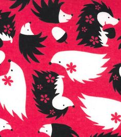 Snuggle Flannel Fabric Hedgehogs Pink