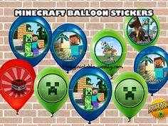 MINECRAFT BALLOON STICKERS Minecraft balloon party http://partyprintable.weebly.com/  Minecraft printable decoration, Minecraft birthday party decoration, Minecraft gifts, Minecraft invitation, Minecraft, Minecraft creeper, Creeper decoration, Minecraft digital file, Minecraft free decoration, minecraft printables, minecraft food, minecraft stickers, creeper printables