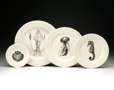 Laura Zindel dinner plates. THE JELLYFISH!!