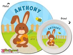 Personalized Bunny Plate and Bowl Set - Personalized Melamine Children Plate and Cereal Bowl - Kids Dishes for Mealtime - Boy Rabbit