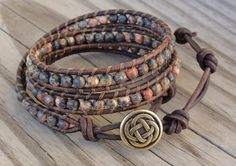 Triple Leather Wrap Bracelet with 4mm Leopardskin por GSJewelry