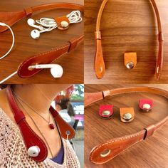 Best headphone holder made by hand in leather artisans. – Buy now and get an amazing headphone wrap for free to keep your headphones untangled in your pocket! (Contact us for different colors). -Always keep your headphones in order and with you Leather Belt Bag, Leather Art, Leather Gifts, Leather Design, Leather Jewelry, Vintage Leather, Leather Wallet, Handmade Leather, Headphone Wrap