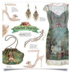 """Michal Negrin Canada"" by mahafromkailash ❤ liked on Polyvore featuring Sophia Webster, Michal Negrin, vintage, floral, embroidered, artdeco and pastoral"