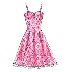 M6956-Dress has boning, close-fitting, self-lined bra, back bodice, princess seams, pleated skirt variations, and back zipper. #mccalls #nowtrending #dress