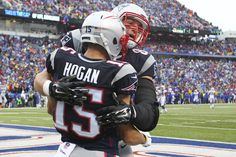 Patriots vs. Bills:  October 30, 2016  -  41-25, Patriots  -    New England Patriots tight end Rob Gronkowski, right, hugs Chris Hogan after Hogan scored a touchdown during the first half of an NFL football game against the Buffalo Bills Sunday, Oct. 30, 2016, in Orchard Park, N.Y. (AP Photo/Bill Wippert) AP, BILL WIPPERT