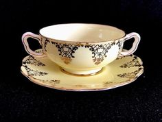 Royal Albert Crown Bone China Yellow With Gold Lace Soup Bowl With Plate Set(s) | Pottery & Glass, Pottery & China, China & Dinnerware | eBay!