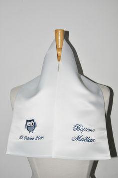 écharpe étole de baptême bébé/enfant chouette personnalisée brodée marine pour garçon ou fille baptême : Mode Bébé par lbm-creation