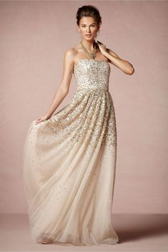 White and Gold Wedding. Bridesmaid Dress. Gold Sparkle Wedding Dress by BHLDN. Don't like the top, but totally beautiful!