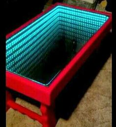 black and red infinity mirror coffee table. custom made to match a