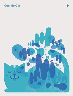 Cosmic cat poster by The Little Friends of Printmaking / JW and Melissa Buchanan