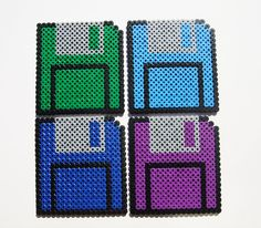 Floppy Diskettes made with perler beads! Melty Bead Patterns, Hama Beads Patterns, Beading Patterns, Loom Patterns, Perler Beads, Fuse Beads, Perler Bead Designs, Gremlins, Perler Coasters