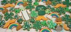 St Patty's Day sugar cookies Keri's Kreations Rainbow Mustaches Clovers