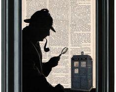 Sherlock Holmes Print, Doctor Who Tardis Print, Tardis Wall Art, Sherlock Holmes Art Print, Decorative Art Print, Doctor Who Art Print