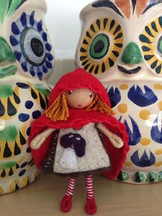 Waldorf style bendy doll Little Red Riding Hood