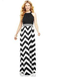 Vestido largo con rayas zig-zag 29.90€