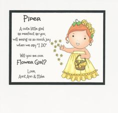Items similar to REDHEAD Piper - Will you be my Flower Girl Flat card - Personalized custom on Etsy Kids Wedding Favors, Wedding Favor Tags, Wedding With Kids, Our Wedding, Dream Wedding, Wedding 2015, Wedding Bells, Perfect Wedding, Wedding Stuff