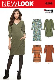 New Look Ladies Easy Sewing Pattern 6298 Stretch Knit Jumper Dresses | Sewing | Patterns | Minerva Crafts