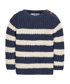 Navy Striped Fisherman Knitted Jumper