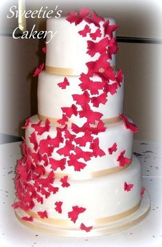 Erfly Whirl Wedding Cake 4 Tier