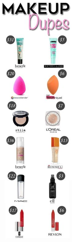 These 10 Makeup Dupe Hacks have saved me A TON OF MONEY! I use makeup regularly so this post is AWESOME! So GLAD I found this! Pinterest: @BrittanyNiemer☼☽