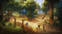 Warcraft Fan Art Gallery - Goldshire  Illustration de Konstantin Turovec