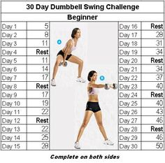 Fitness challenge: 30 Day Dumbbell Swing - - In preparation for December I am posting the December 30 day challenge. I was feeling cleaver (well goofy) so I decided we will have Dumbbell December. Well, technically it is Dumbbell Swing Decemb…. Kettlebell Training, Crossfit Kettlebell, Kettlebell Benefits, Kettlebell Deadlift, Month Workout Challenge, Arm Challenge, Workout Schedule, Kettlebell Challenge, Challenge Quotes