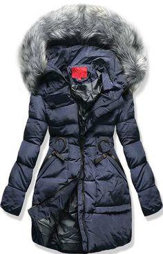 Dámska zimná bunda s kapucňou 1807 modrá