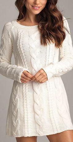 Kar Beyaz Triko Elbise Modelleri Şık ve Dikkat Çekici 2018 Kazak Elbiseler