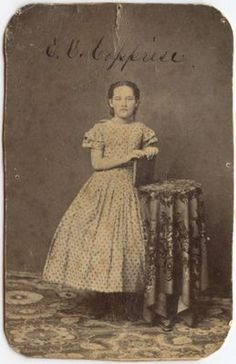 Young Lady E O Capprise in Beautiful Dress with Book Antique CDV | eBay