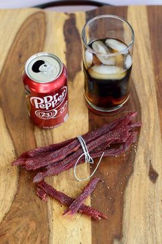 The great taste of Dr. Pepper mixed with Beef? With only 4 ingredients, this Dr. Pepper Beef Jerky is easy to make and tastes great! Beef Jerky Marinade, Beef Jerkey, Deer Jerky Recipe, Dr Pepper Jerky Recipe, Venison Jerky Recipe, Pepper Recipes, Jerkey Recipes, Homemade Beef Jerky, Venison Recipes