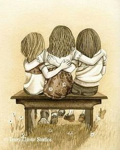Items similar to Lean On Me - archival watercolor print by Tracy Lizotte on Etsy Sisters Forever, Friends Forever, Three Sisters, Little Sisters, Sisters Art, Three Daughters, Love My Sister, To My Daughter, Big Sis