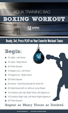Boxing workout that combines strength training and cardio. Get a workout on your Aqua Punching Bags. Use this workout at home or add it to your Boxercise, Boxilates, Boxing for Fitness class. #Boxingworkout Get quick workout tips and get fit fast! Click here now - http://fitnesssnap.com
