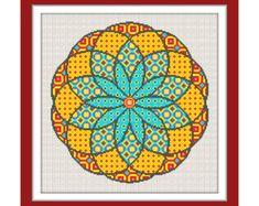 Polish wycinanki flowers modern cross por PatternsCrossStitch