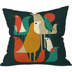 Add a touch of color to your living room sofa or guest bedding with this delightful pillow, featuring a bold bird motif.  Product: