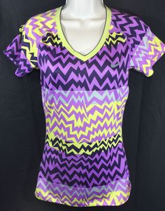 Nike Pro Dri Fit Short Sleeve s Fitted Top Womens Small Running Chevron | eBay