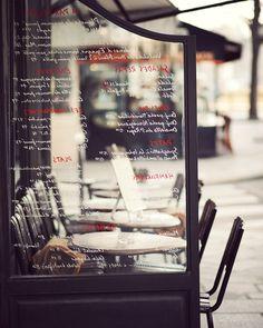 Paris Cafe Menu, Seats outside, Paris in the Spring, Pretty Interior Decor, SIZE 8 x 10 INCHES. $25.00, via Etsy.