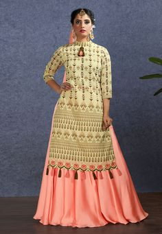 Pleasing cream chanderi lehenga style suit online which is crafted from chanderi fabric with exclusive embroidery and hand work. This stunning designer lehenga style suit comes with satin gerogette bottom and nylon chiffon dupatta. Lehenga Suit, Lehenga Style, Lehenga Choli, Indowestern Lehenga, Latest Anarkali Suits, Salwar Suits Simple, Cotton Lehenga, Salwar Suits Party Wear, Gown Suit
