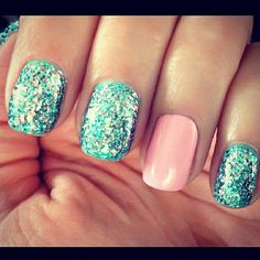 Mermaid nails <3 love the color combo, so summery