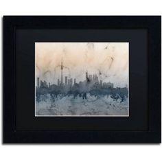 Trademark Fine Art Toronto Canada Skyline V Canvas Art by Michael Tompsett Black Matte, Black Frame, Size: 11 x 14, Blue