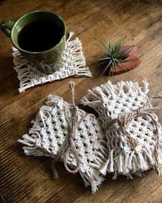Macrame coasters.  Great for beverages or as a plant mat!