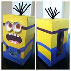 "Jane of all Trades: ""Despicable Me"" Minion Valentine Box Minion Valentine, Valentine Boxes For School, Valentines For Boys, Valentines Day Party, Valentine Day Crafts, Holiday Crafts, Holiday Fun, Tissue Box Crafts, Kleenex Box Crafts"
